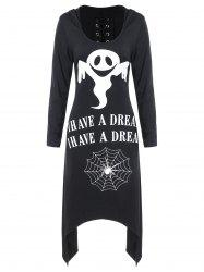 Halloween Asymmetric Lace Up Graphic Pullover Hoodie -