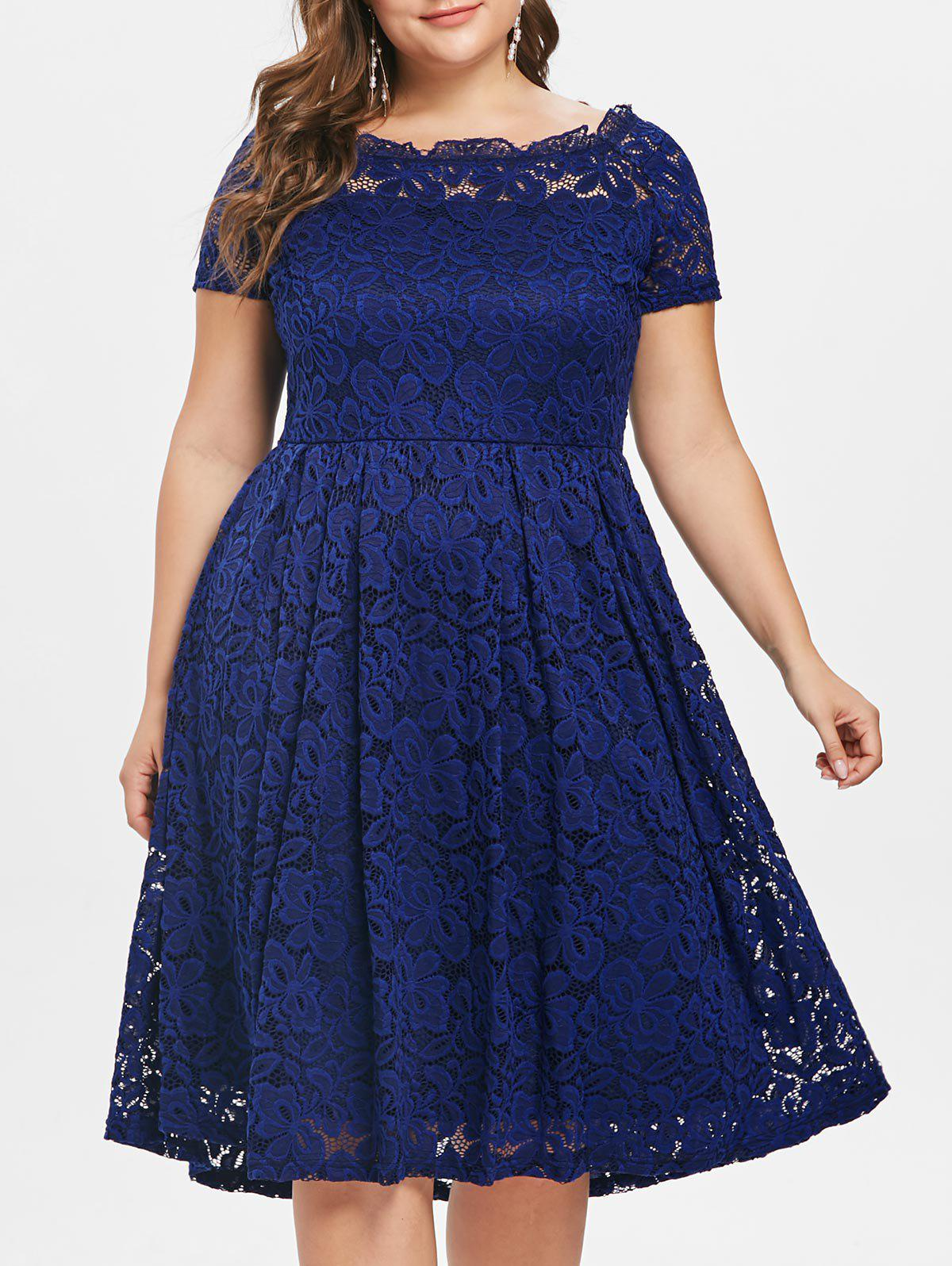 Hot Scalloped Off The Shoulder Plus Size Lace A Line Dress