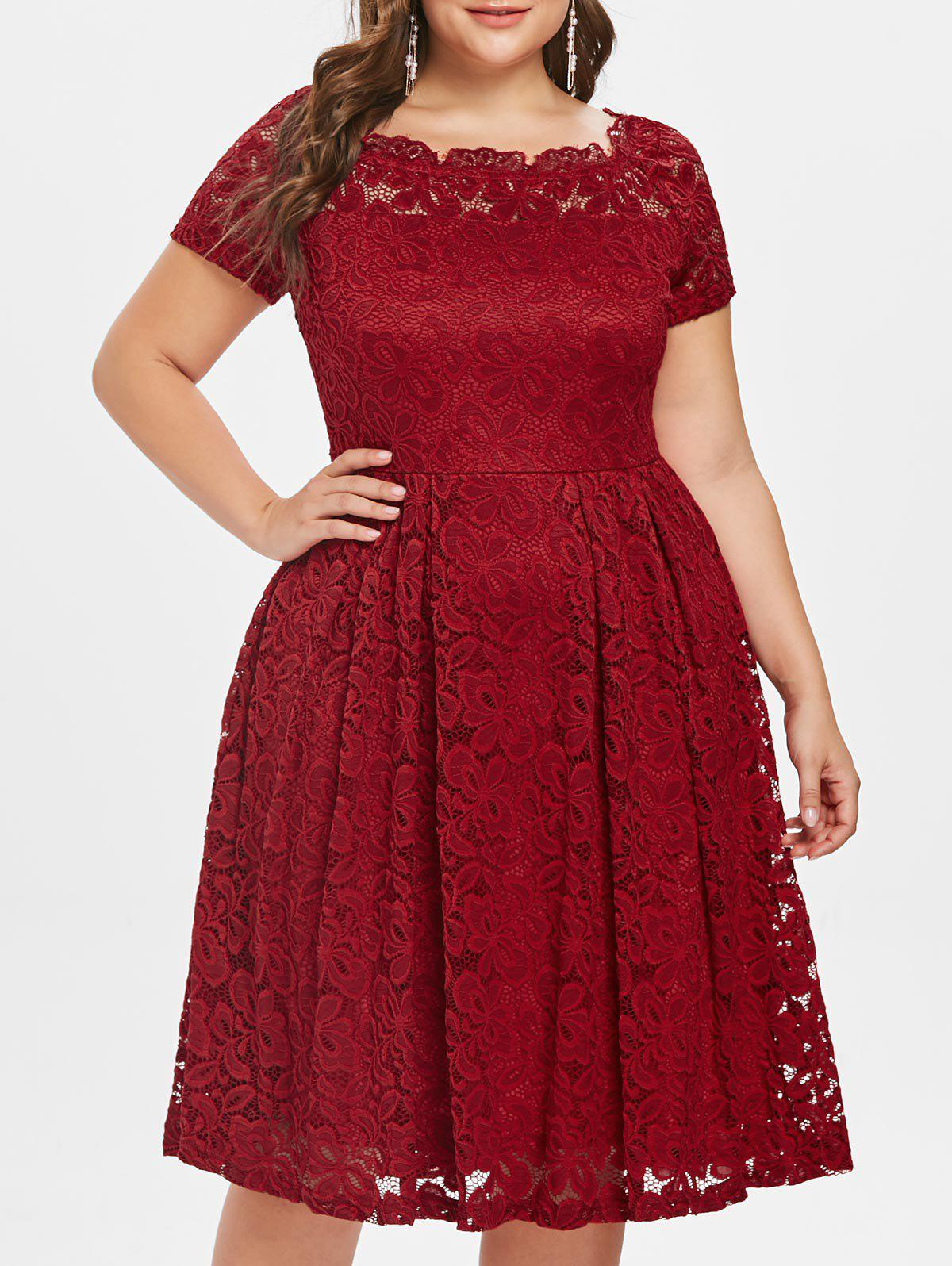 Cheap Scalloped Off The Shoulder Plus Size Lace A Line Dress