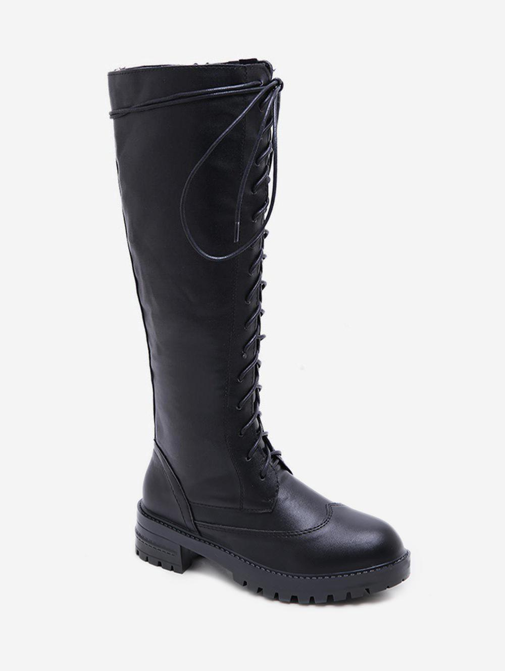 Unique Lace Up Chunky Heel Knee High Boots