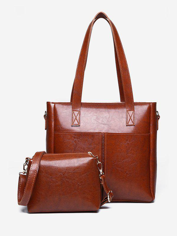 Best 2 Pieces PU Leather Minimalist Shoulder Bag Set