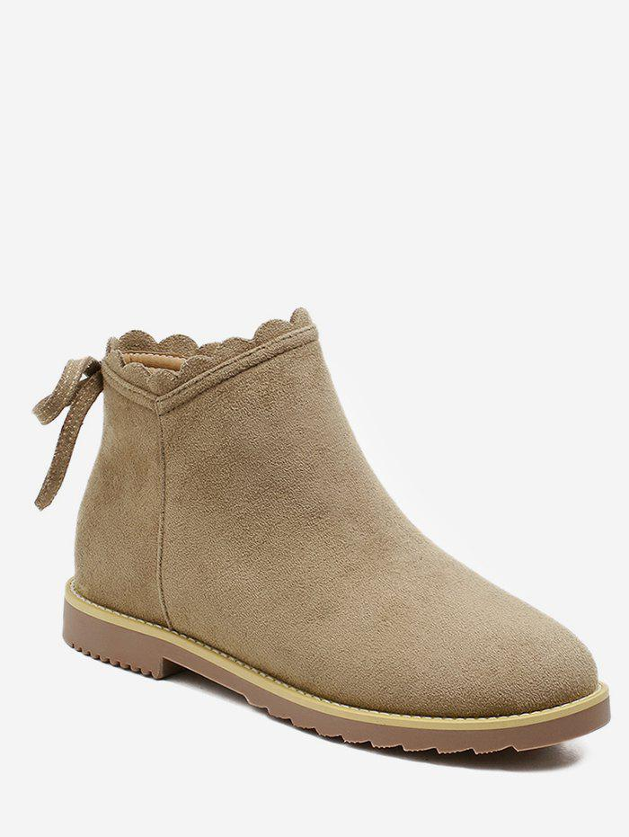 Fashion Bowknot Back Suede Short Boots