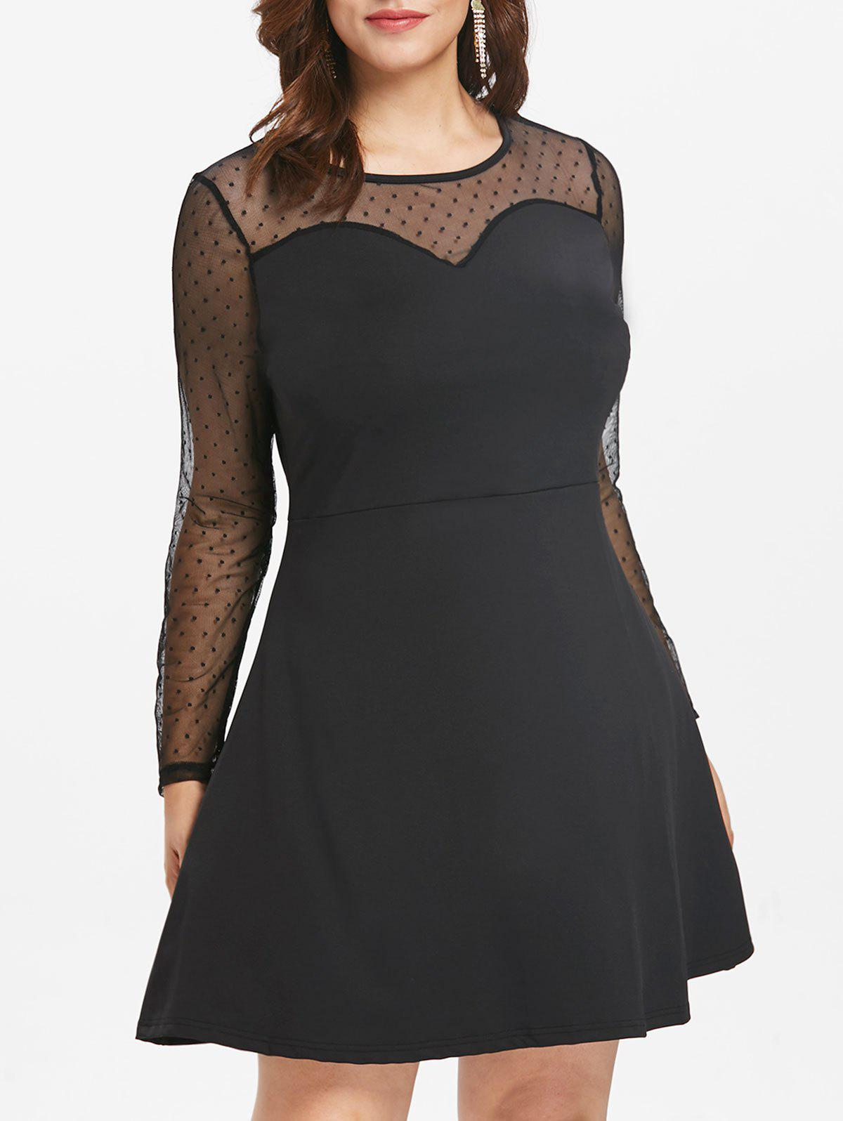 Chic Plus Size Mesh Polka Dot Dress