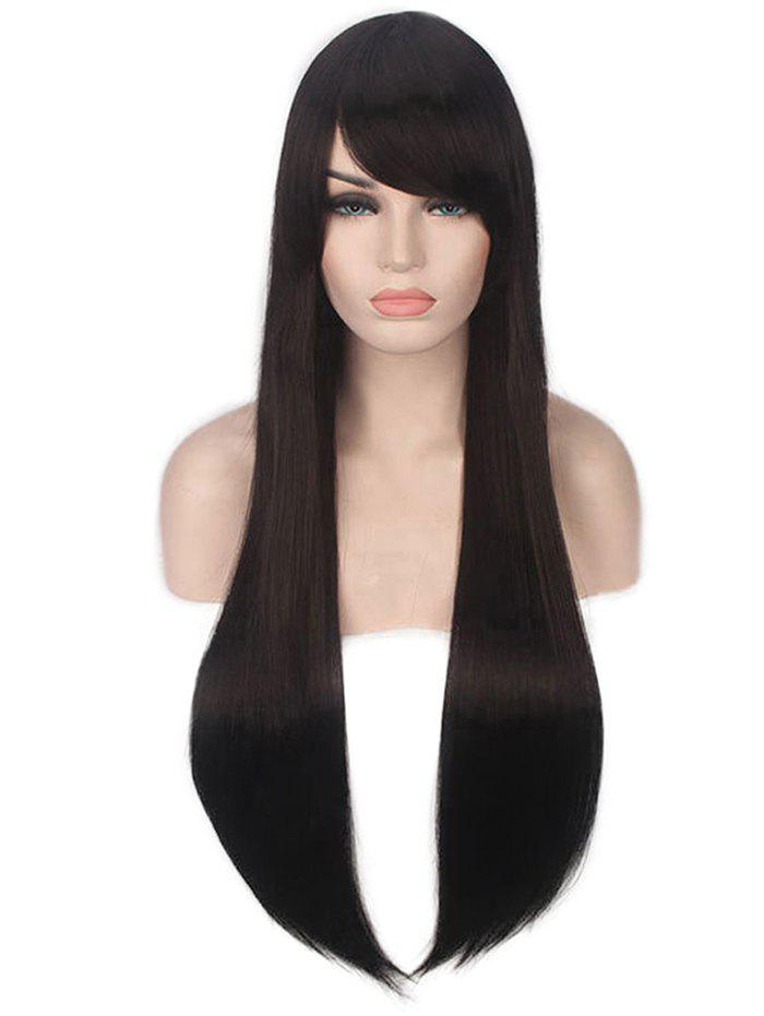 Best Long Inclined Bang Straight Capless Synthetic Wig