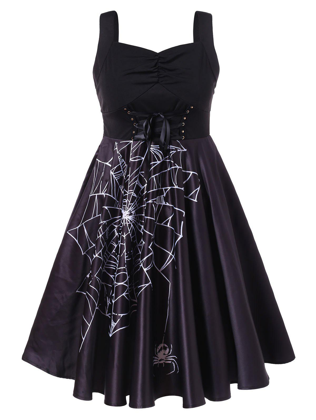Fancy Corset Plus Size Halloween Spider Web Print A Line Dress