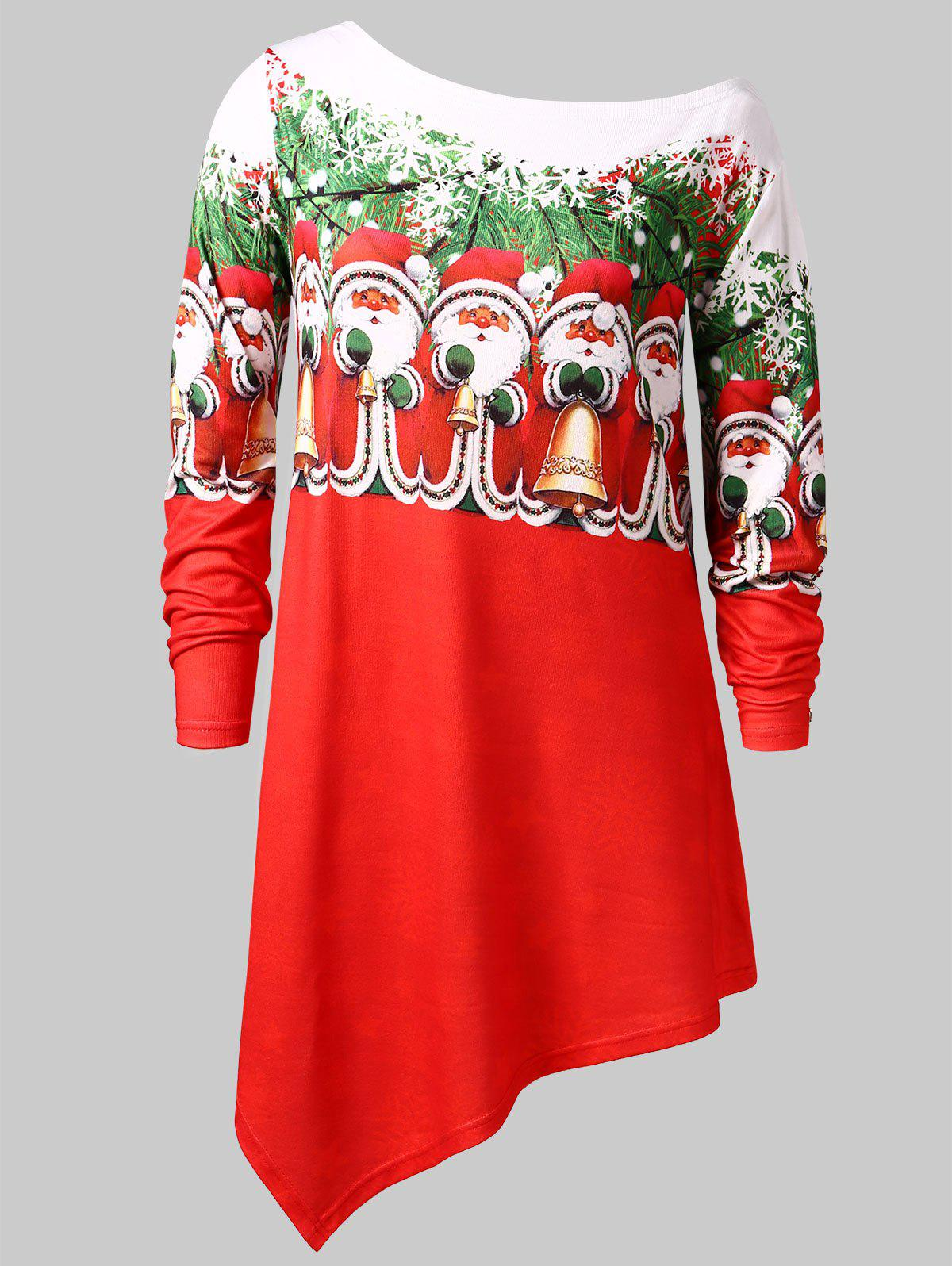 c48cd1cbf 38% OFF] Plus Size Santa Claus Print Asymmetric Christmas T-shirt ...
