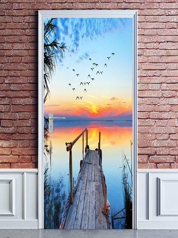 New Sunset Waterside Bridge Print Door Cover Stickers