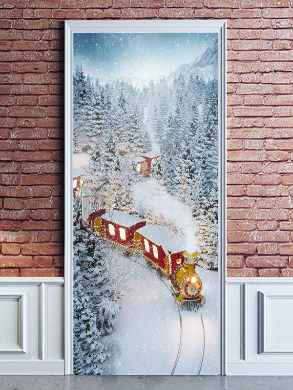 Fancy Christmas Train Snowy Forest Print Door Cover Stickers