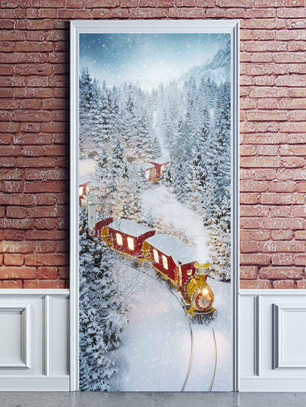 Hot Christmas Train Snowy Forest Print Door Cover Stickers