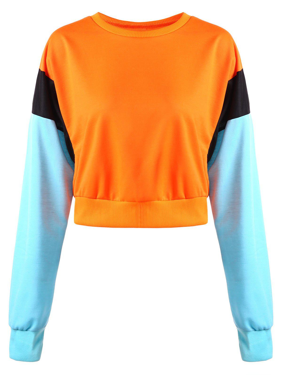 Trendy Color Block Crop Sweatshirt