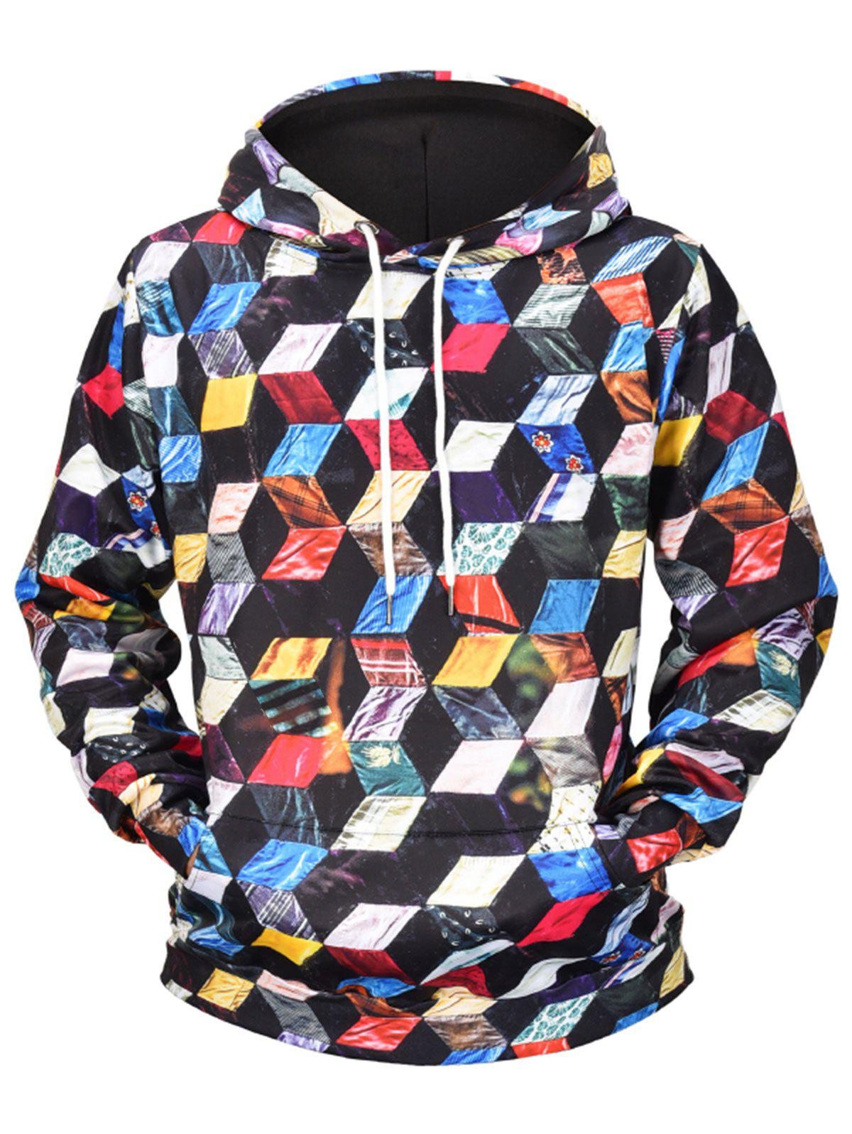 Fancy Colorful Cube Print Pullover Hoodie