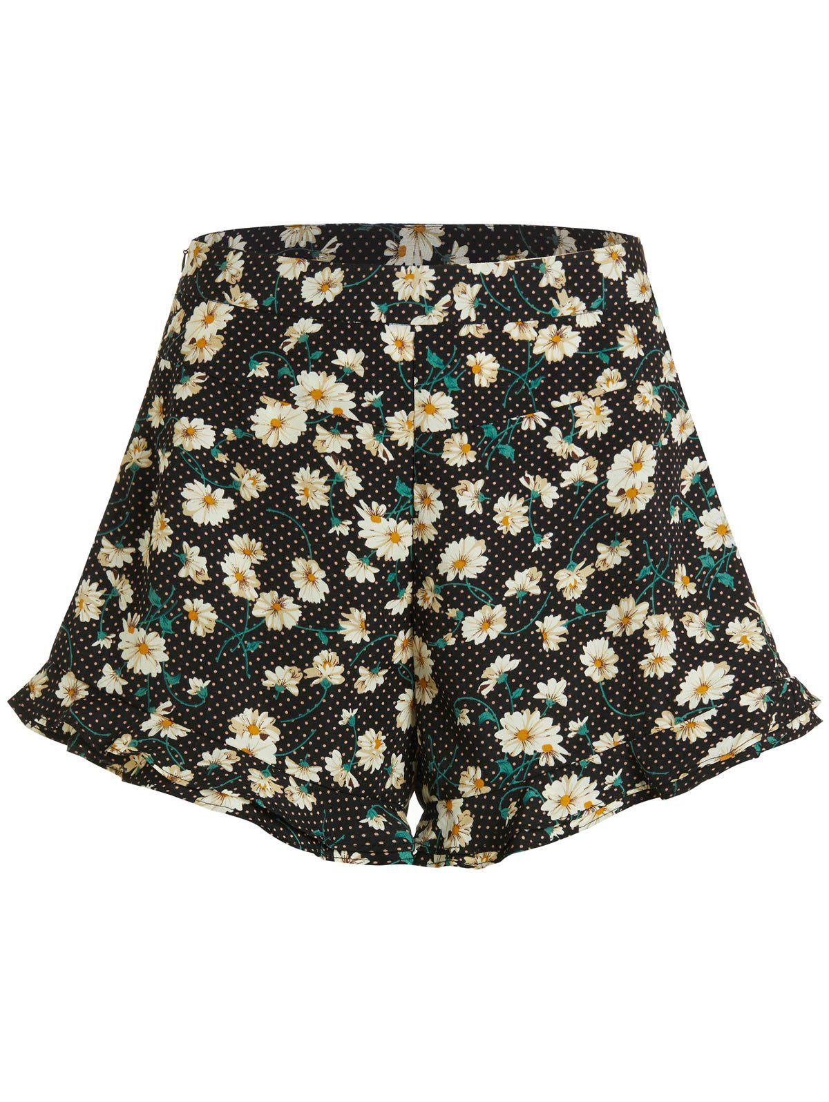 Polka Dot Daisy Print High Waisted Shorts