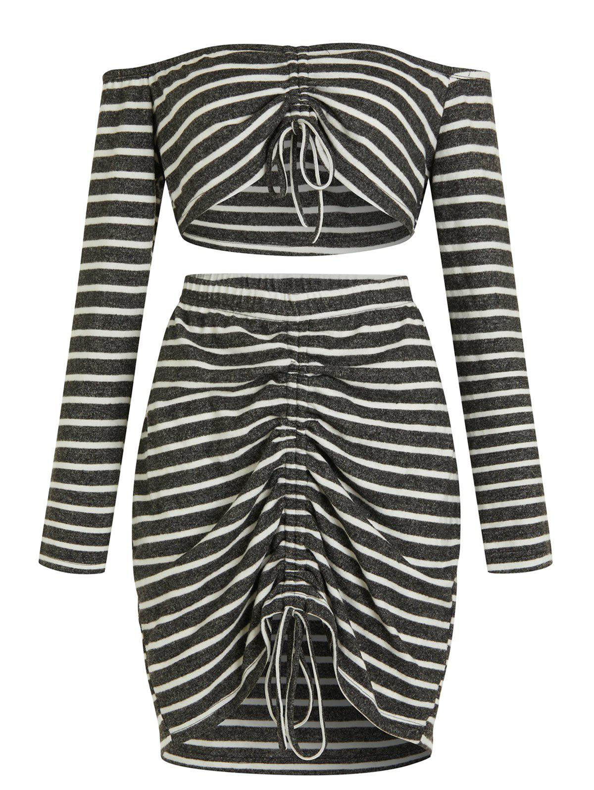 Latest Striped Plus Size Crop Top and Ruched Mini Skirt