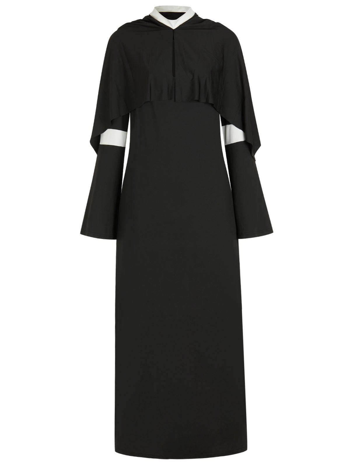 Affordable Plus Size Halloween Cosplay Nun Costume Slit Dress
