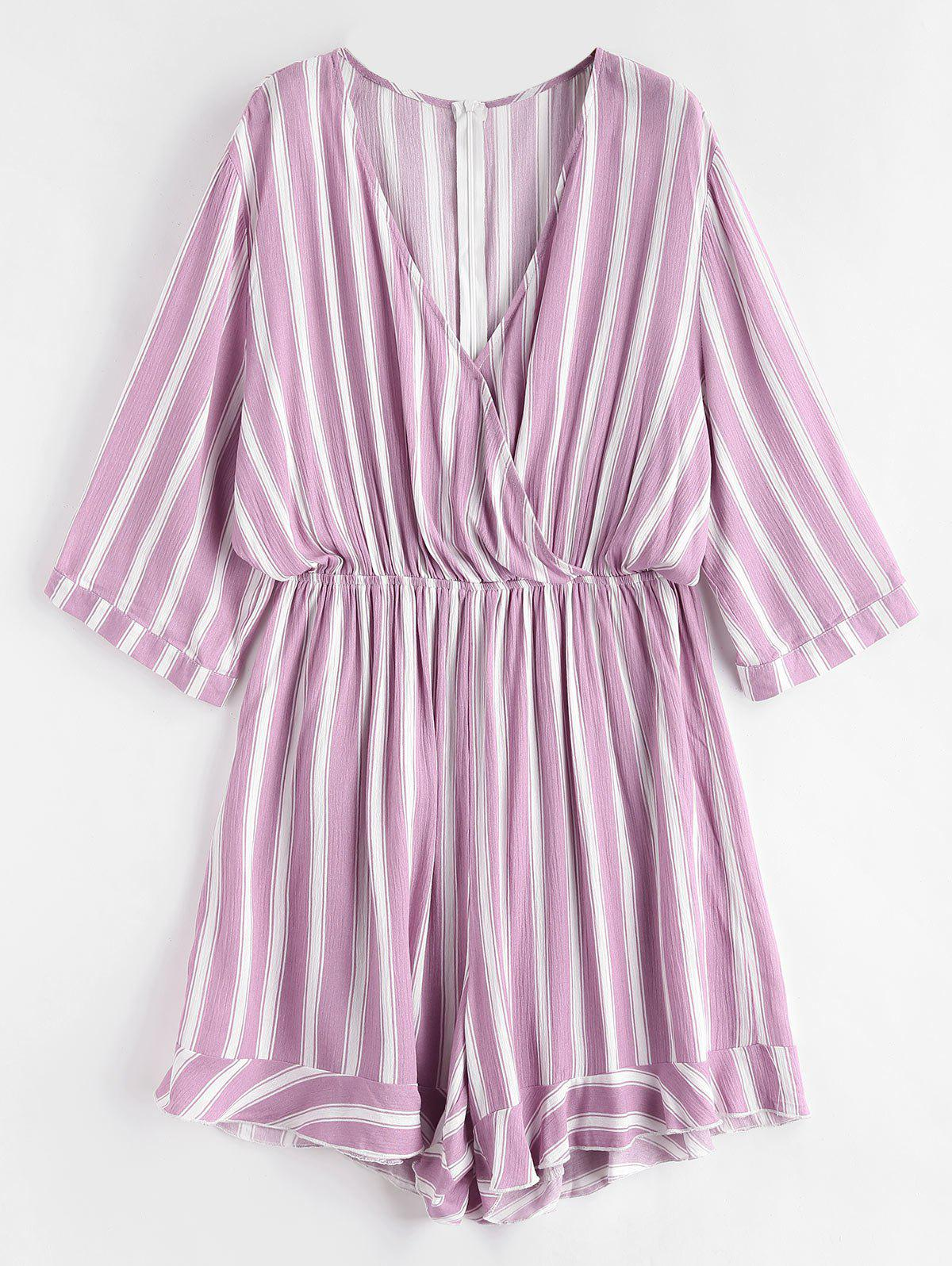 Shop Striped Plus Size Surplice Romper