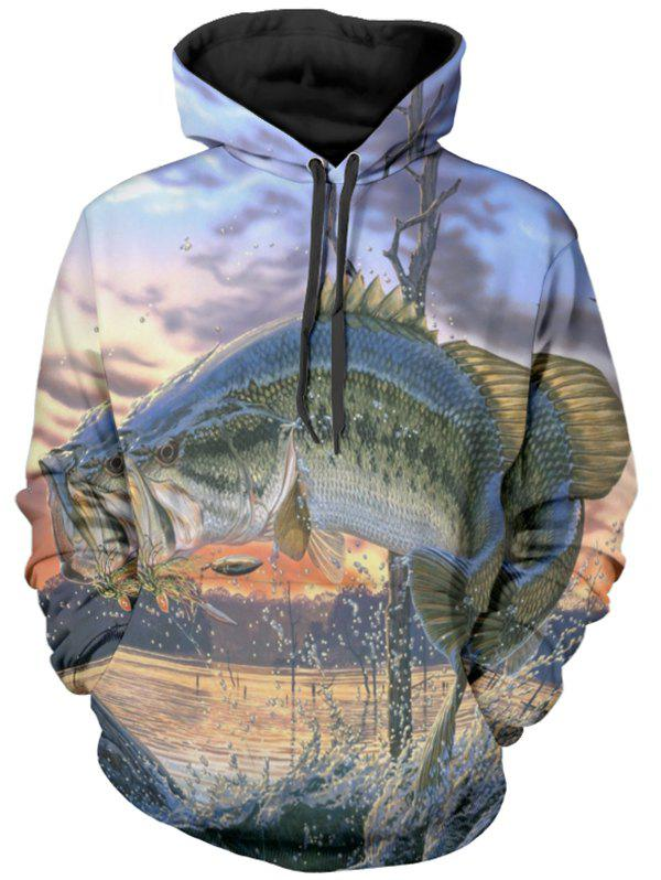 Cheap Jumping Fish Print Pullover Hoodie