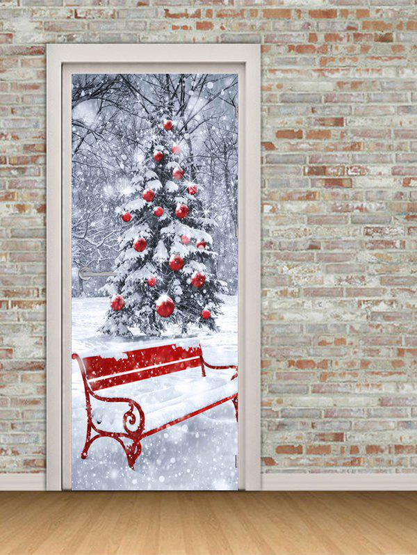 Affordable Christmas Tree Bench Print Door Cover Stickers