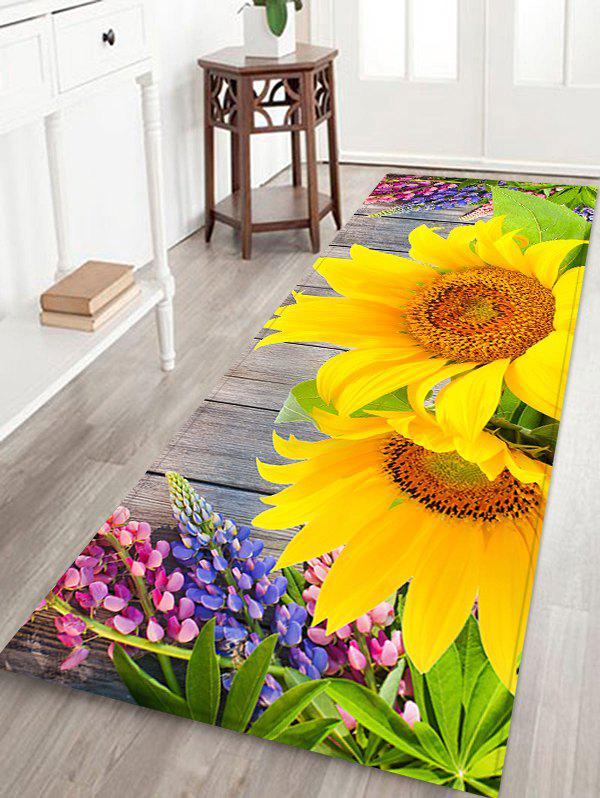 Outfits Sunflower Printed Non-slip Decorative Flannel Bath Mat