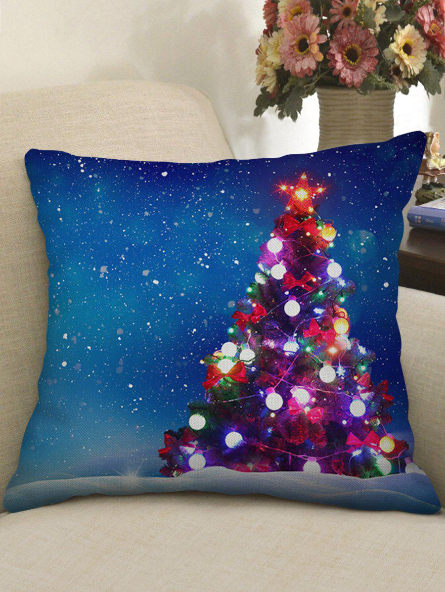 Discount Star Christmas Tree Print Decorative Linen Pillowcase