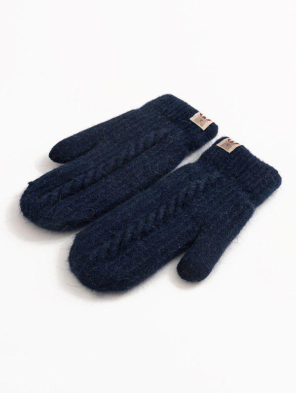 Chic Winter Animal Label Knitted Mitten Gloves