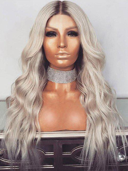 Affordable Long Center Parting Colormix Wavy Synthetic Wig