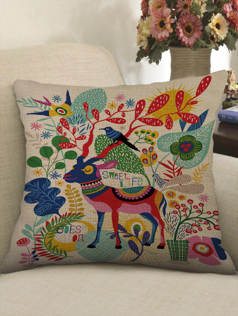 Buy Elk Flowers Print Decorative Sofa Linen Pillowcase