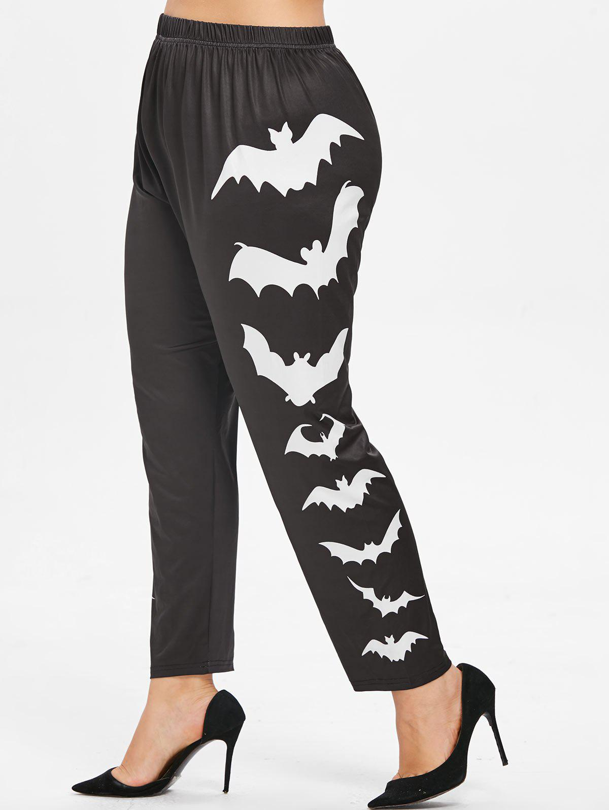 Buy Side Bat Pattern Plus Size Elastic Waist Halloween Leggings