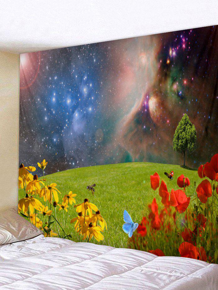 Unique Wall Hanging Art Galaxy Grasslands Flower Print Tapestry