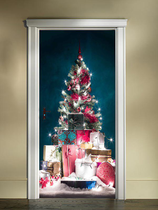 Discount Christmas Tree Gifts Print Door Cover Stickers