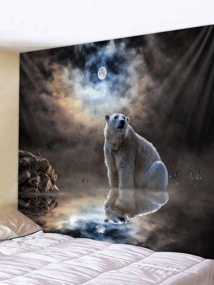 Sale Wall Hanging Art Moon Night Polar Bear Print Tapestry