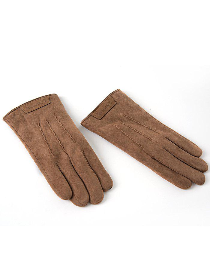 Discount Winter Faux Suede Full Finger Gloves
