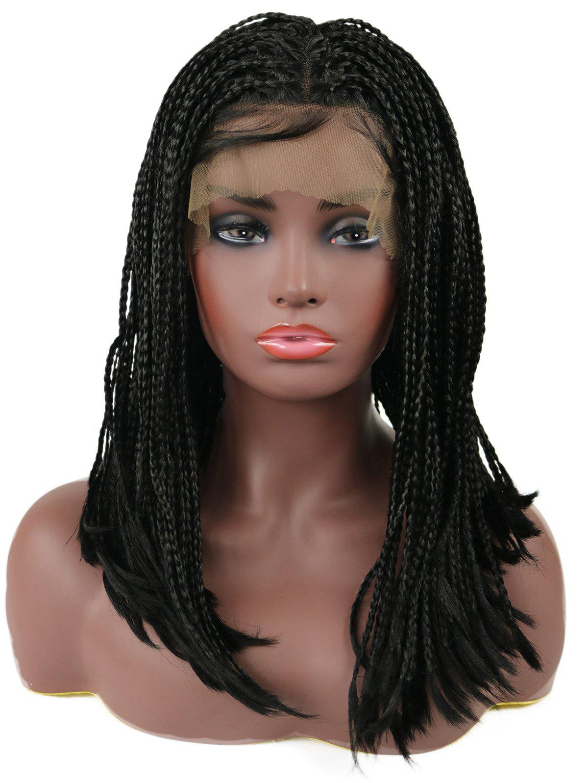 Center Parting Three Strands Braids Medium Synthetic Lace Front Wig