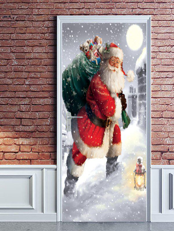 Unique Christmas Santa Claus Gift Print Door Cover Stickers