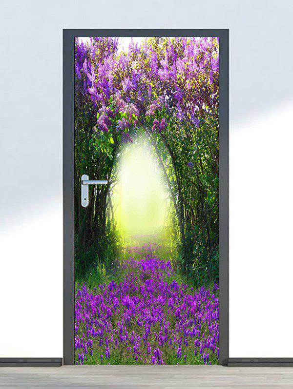 Buy Floral Tree Hole Print Door Cover Stickers