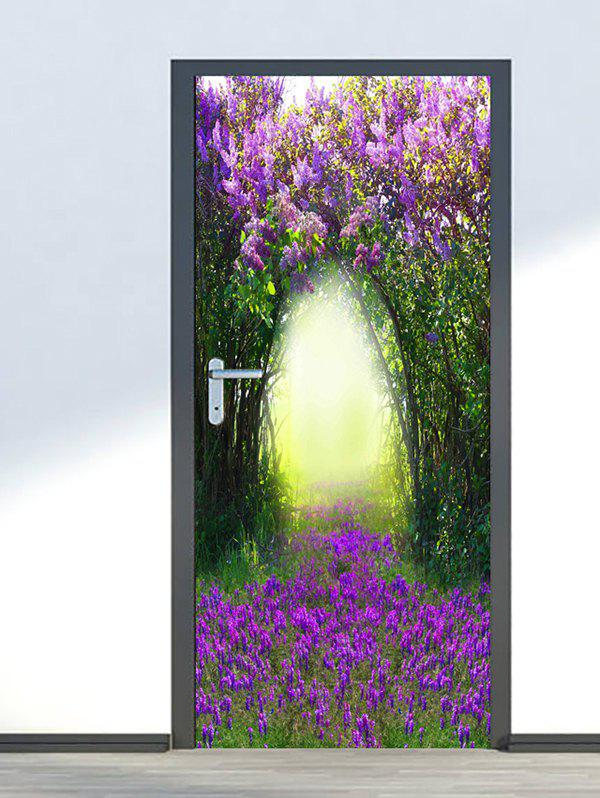 Chic Floral Tree Hole Print Door Cover Stickers