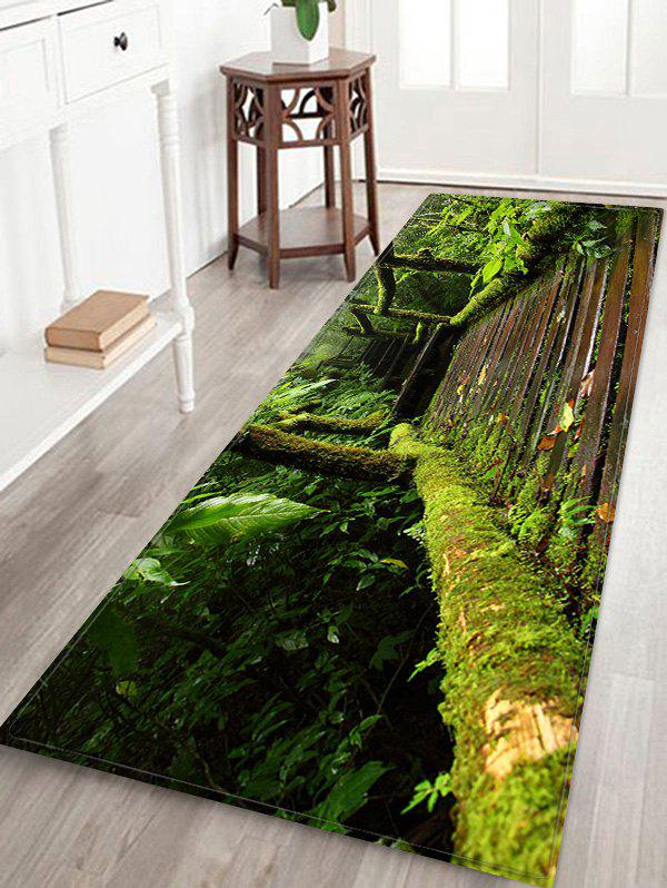 Affordable Stairs Plant Printed Non-slip Decorative Flannel Bath Mat