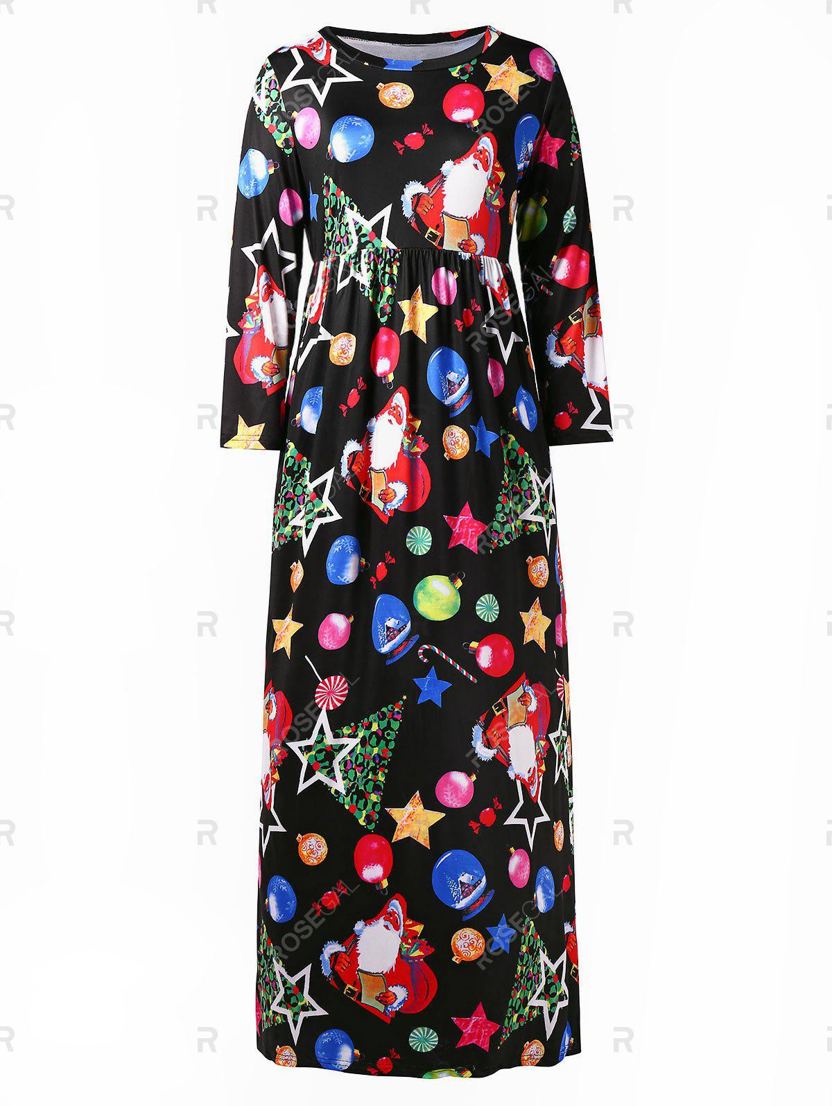 Chic Plus Size Christmas Tree Snowman Graphic Maxi Dress