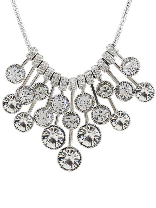 Unique Round Rhinestone Inlaid Pendant Necklace
