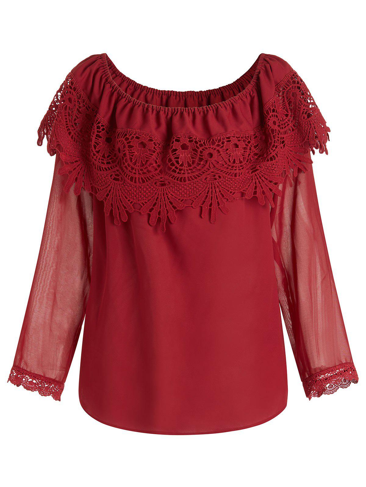 Store Plus Size Off Shoulder See Through Sleeves Overlay Chiffon Blouse