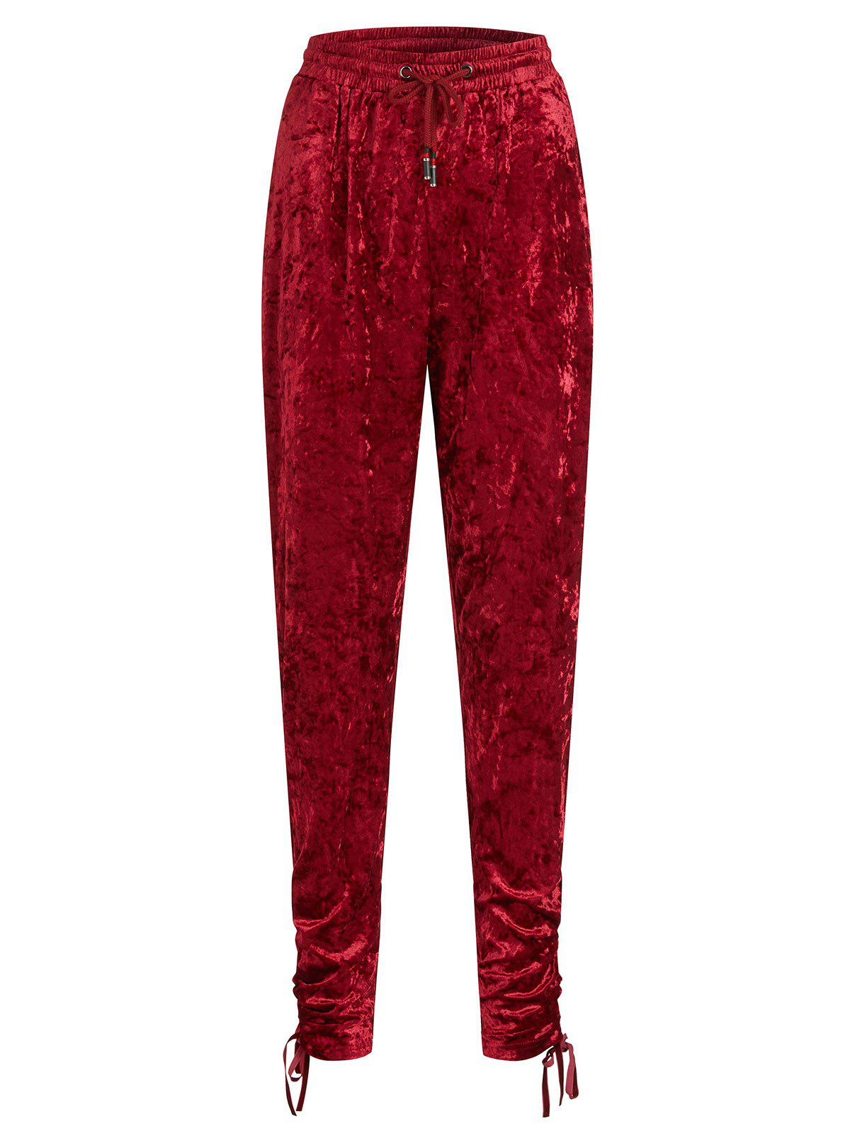 Shops Gathered Cuffs Velvet Plus Size Joggers Pants