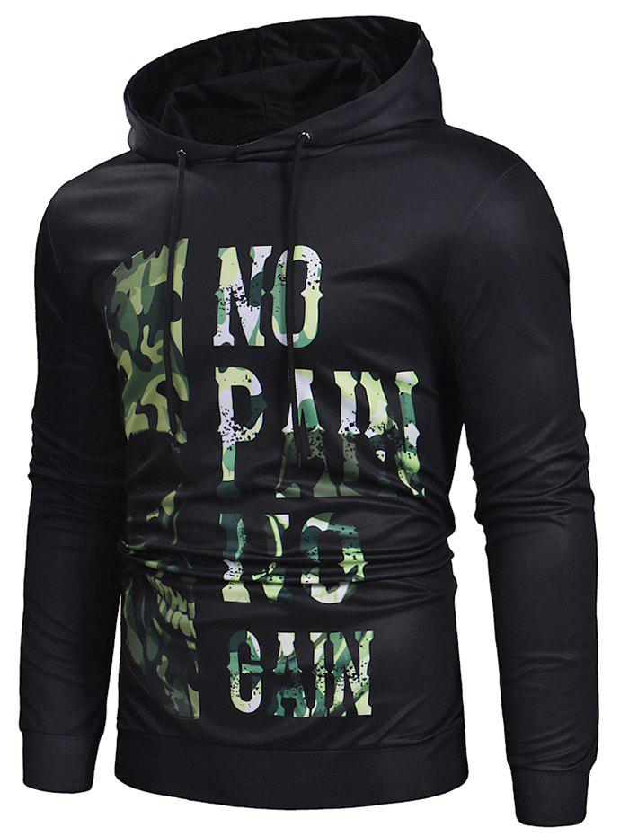 Cheap Camo Leter Print Casual Hoodie