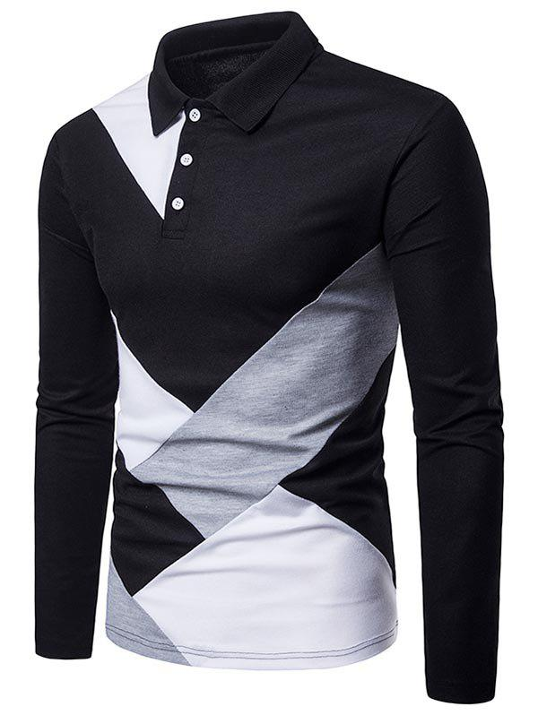 Trendy Casual Patchwork Long Sleeve Polo Shirt