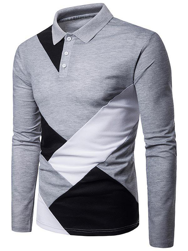 Shops Casual Patchwork Long Sleeve Polo Shirt