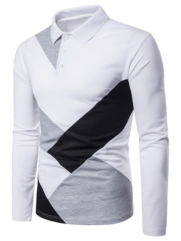Discount Casual Patchwork Long Sleeve Polo Shirt