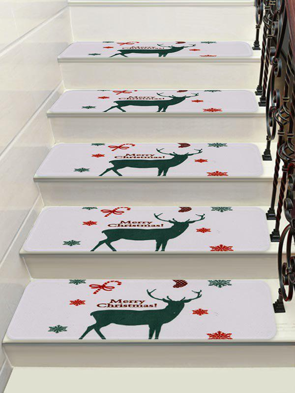 Hot Christmas Elk Snowflake Printed Stair Floor Rugs