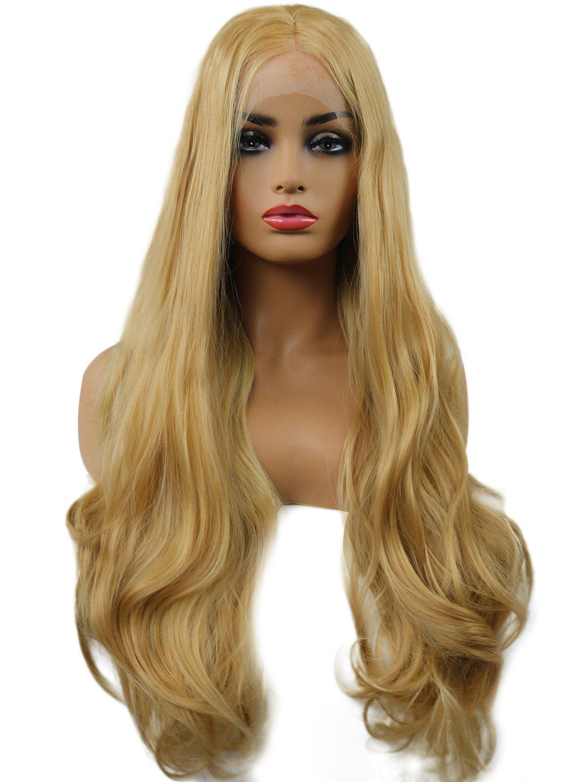 Online Long Center Parting Wavy Synthetic Lace Front Wig