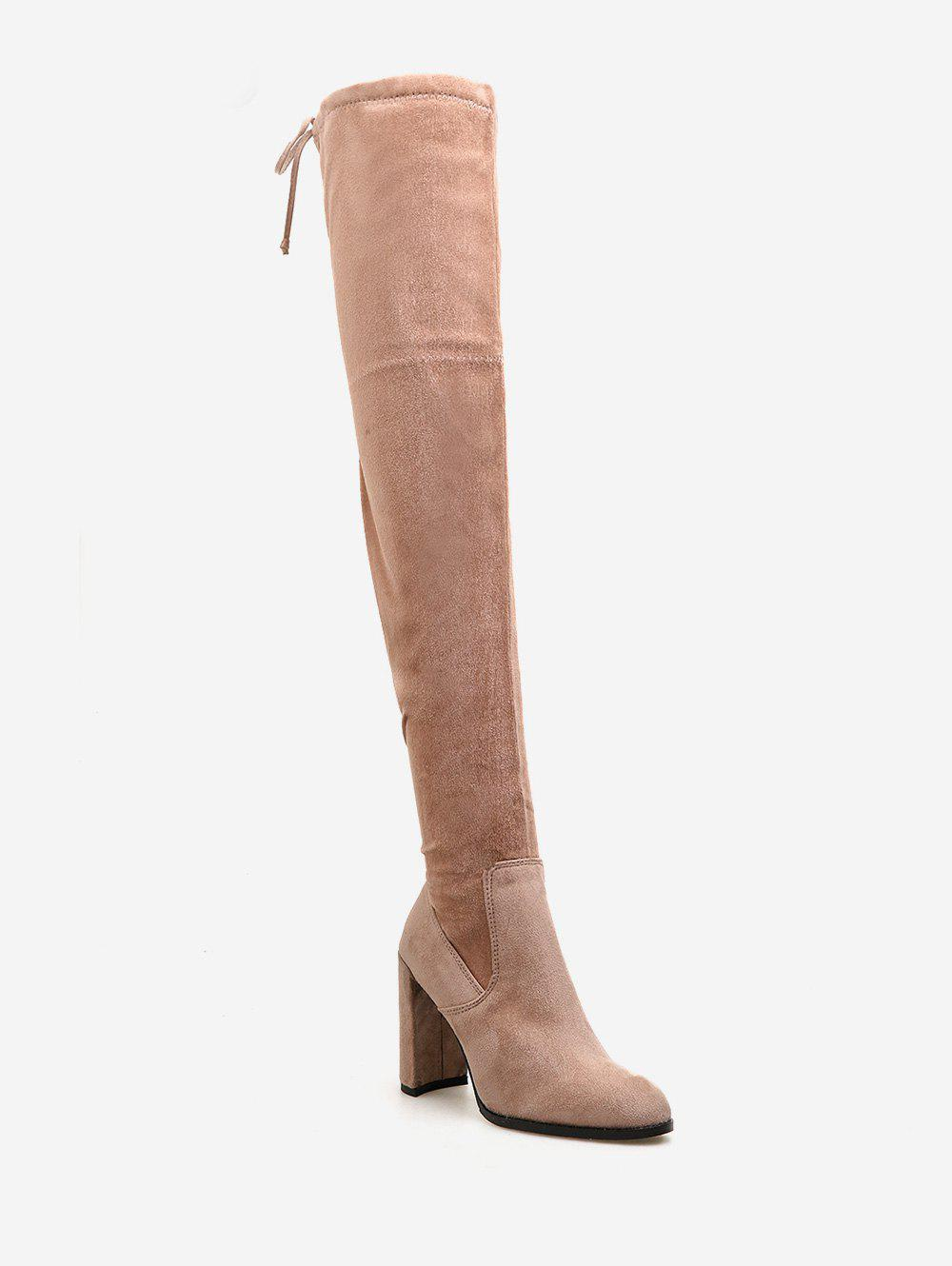 Hot Chunky Heel Suede Drawstring Thigh High Boots