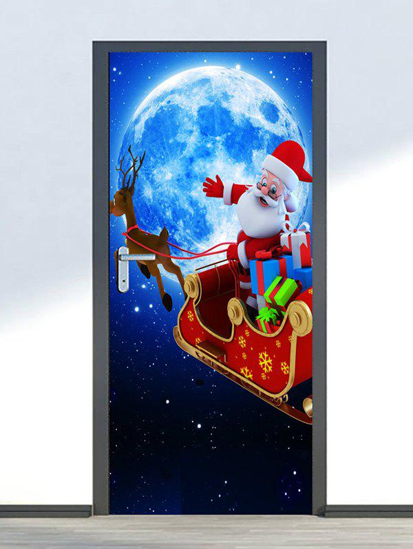 Fancy Christmas Santa Claus Moon Print Door Cover Stickers