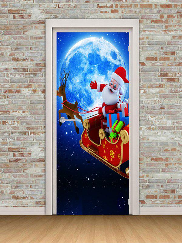Trendy Christmas Santa Claus Moon Print Door Cover Stickers