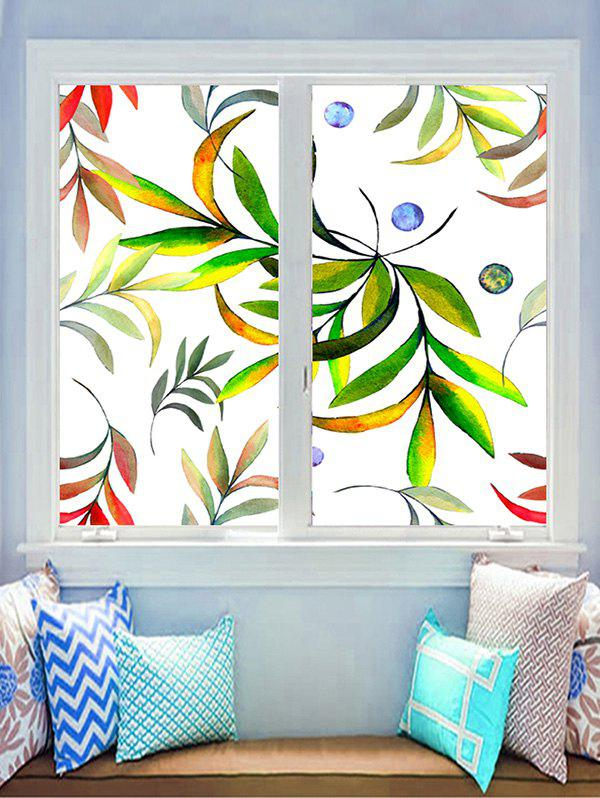 Outfits Leaf Print Decorative Glass Stickers